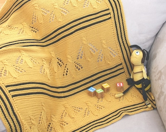 Buzzy Bee Baby Blanket, Knitting Pattern, PDF