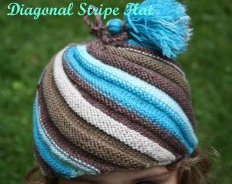 Diagonal Stripe Hat, Knitting Pattern, PDF