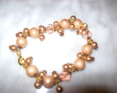 Free Domestic Shipping Glass Pearl, Textured Rounds, Copper Accents, Twisted Faceted Crystal Cluster Bracelet