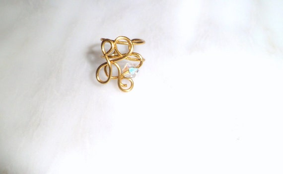 Ear cuff/ Ear wrap golden with tiny AB crystal No piercing needed