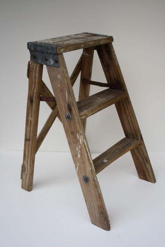 Vintage Wooden Step Ladder by CrownWillow on Etsy