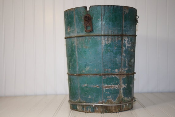 Vintage Wooden  Ice Cream Freezer Bucket