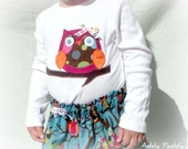Owl Skirt and Shirt Set- corduroy skirt, long sleeve shirt, hair clip- 12m, 18m, 24m, 2T, 3T, 4T, 5, 6, 7/8 Toddler Girls Back to School