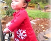 Holiday  Dress, Red with white Snowflake, Jersey Knit, with fabric hair clip - 12m, 18m, 2T, 3T, 4, 5, Holiday, winter, Christmas