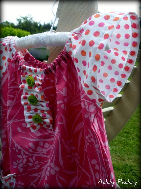 Back to School Dress or Tunic Toddler Girls- Pink with polka dots- 6-m, 9 m, 12m, 18m, 24m, 2T, 3T, 4T, 5, 6, 7, 8, 9/10