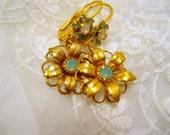 Matte Gold Earrings - Vintage Flower Earrings Rhinestones Wire Dangles Handmade Gold Seafoam Vintage Components Bridal