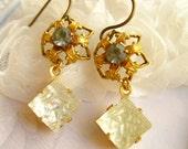 Earrings Dangle Earrings Handmade bridal Jewelry vintage rhinestone earrings Soft gray & frosted ice white rhinestone earrings gold Handmad