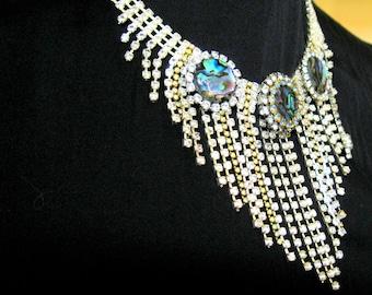 Vintage rhinestone Collar Necklace Statement  necklace Bib Necklace ELIZABETH. Peacock necklace. OOAK Rhinestone Upcycled