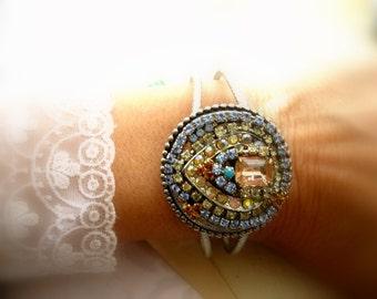 Rhinestone Cuff Pastel Bracelet Vintage rhinestone  WRIST CANDY Assemblage Handmade Bracelet. Pastels Heart Rhinestone bracelet