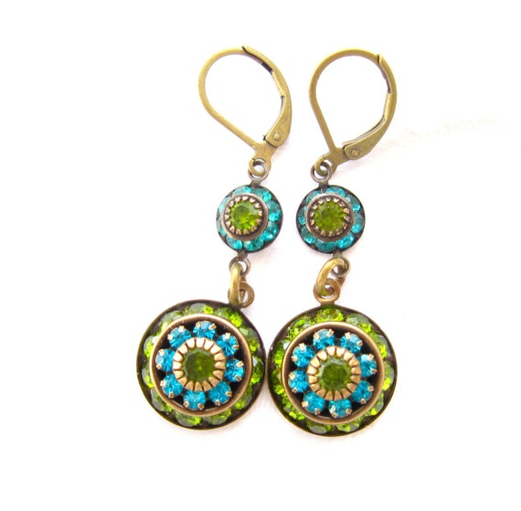 Jewelry Earrings Dangle Handmade Jewelry  Swarovski Flower TIDAL POOL earrings Teal and Olive Rhinestone Handmade earrings