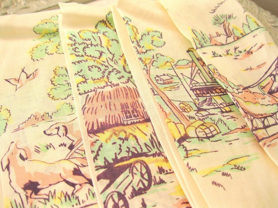 Beautiful Vintage Tea Towels Irish Linen Scenery Tea Towel Set (4)  Fingertip Towel Perfect Vintage Home Decor