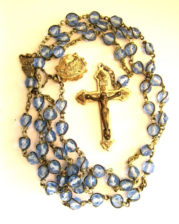 Antique Rosary Sky Blue Sterling Crucifix and Stations - Hand wire wrapped glass beads. Gorgeous Antique Rosary