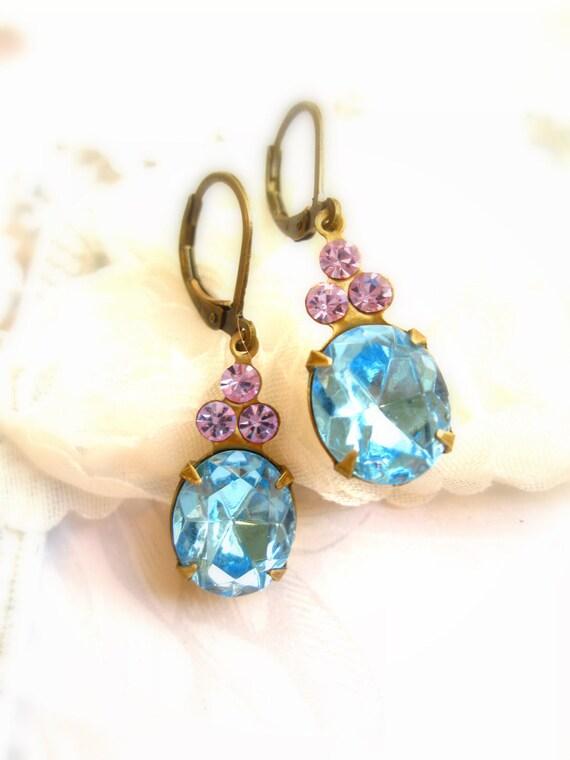 Earrings Dangle Earrings Handmade Jewelry vintage rhinestone dangle earrings Sea aqua blue & lilac lavender rhinestone gold Handmade