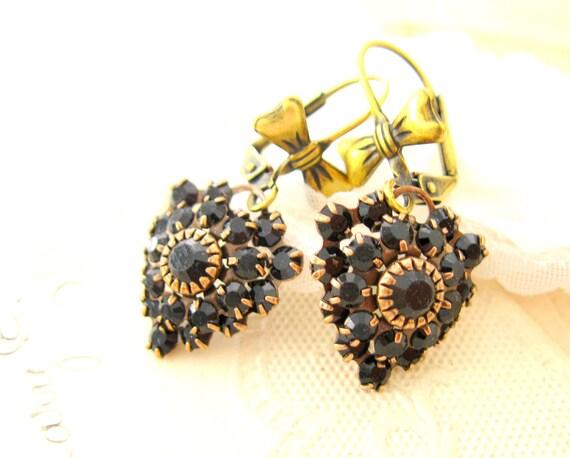 Jewelry Earrings Dangle CLARA BOW Swarovski Black crystal heart earrings Handmade Jewelry  Handmade earrings