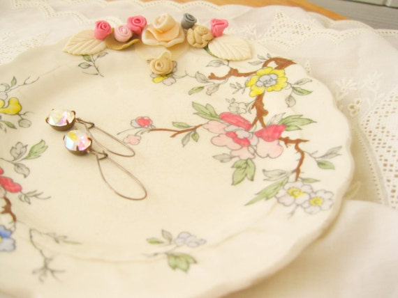Vanity Jewelry  Dish Dresser Trinket Tray Upcycled Vintage English Floral China Home Decor Handmade Flowers Cottage Fem