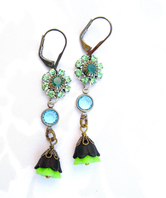 Earrings Dangle Handmade Jewelry Crystal Flower earrings Blue