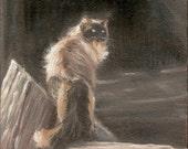 Queen Shiva, siamese cat, cat art, feline painting, cat print, Himalayan cat