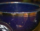 Tom Coleman goblets stoneware blue glaze silver leaf x6 by USA national treasure art potter