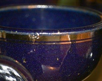 Tom Coleman goblets stoneware blue glaze silver leaf x6 by USA national treasure art potter