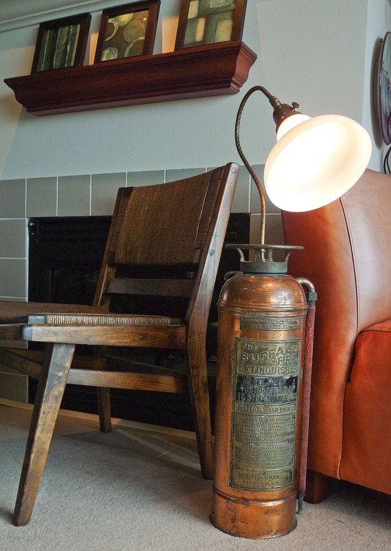 Antique Fire Extinguisher Floor Lamp No.2, upcycled OOAK