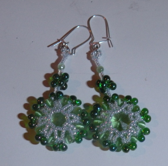 Green Octagon Crystal Earrings