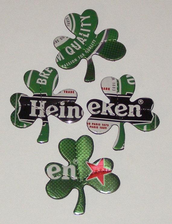 4 Shamrock Clovers - Green Heineken Beer Can Magnets