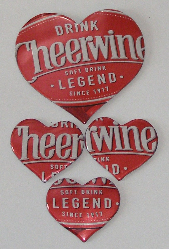 4 Hearts - Cheerwine 'Legend' Cola Soda Can Magnets