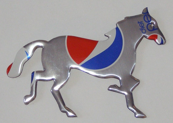 Horse - Mustang - Silver Patriotic Red White Blue Diet Cola Soda Can Magnet