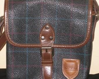 Vintage Classic Dark Blue Tartan 80's Esprit Cross Body Purse