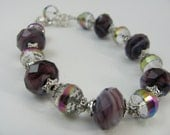 Purple and Crystal Beaded Glass Bracelet-Rondelle and Round Shaped-Pandora Inspired-Expandable in Size-Women, Girls, Teen-Eye Catcher-Shiny