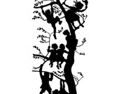 """SUPERSALE, papercut silhouette """"TREEKIDS"""", black and white art cutout  home decor picture, unique gift for christmas, birthday"""