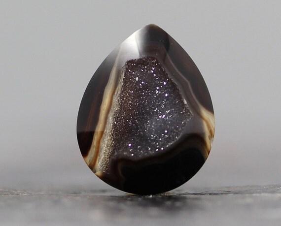 Gemstones: Druzy Geode Tiny Setting Bezel Stone, Drusy Rings, Geodes - Crystal Cab - 19mm (C724)
