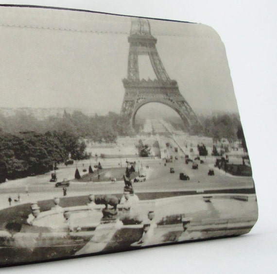 Leather Wristlet with Vintage Photo of the Eiffel Tower, 1929
