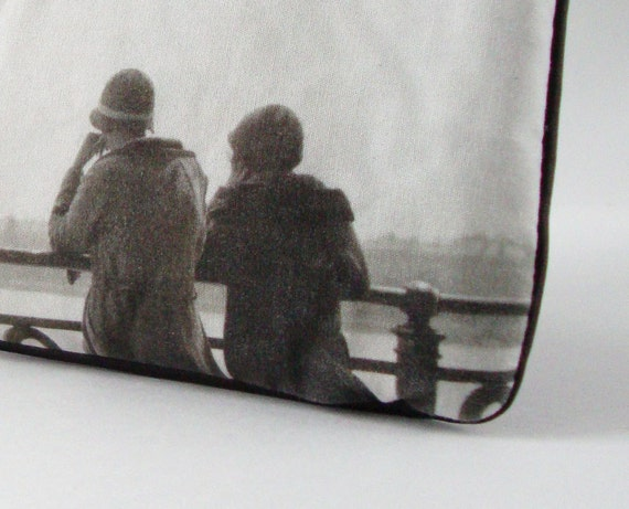 Leather Wristlet with Vintage Photo: View Across the Water, c. 1930