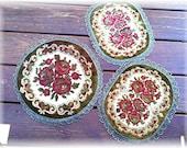 Belgium Velvet  & Metallic Tapestry Dollies Roses Set of Three Richelieu