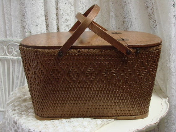 Old Red-Man Picnic Basket  Made In USA French Country Cottage Chic Shabby Chic Vintage