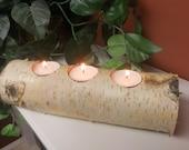 Birch bark log tea light candle holder candles rustic decor