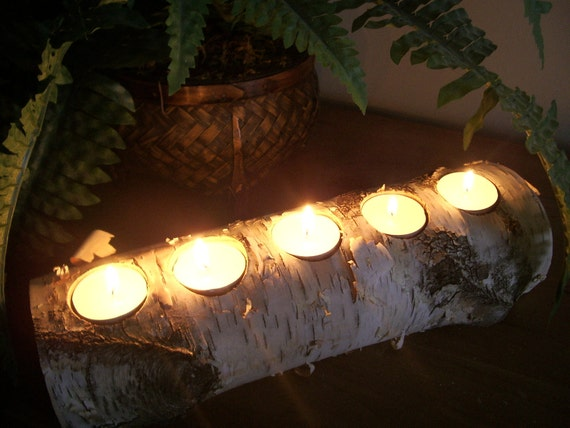Birch bark log tea light holder candle rustic  decor wedding christmas
