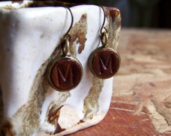 Custom Initial Leather Dangle Earrings Hand Stamped and Made to Order