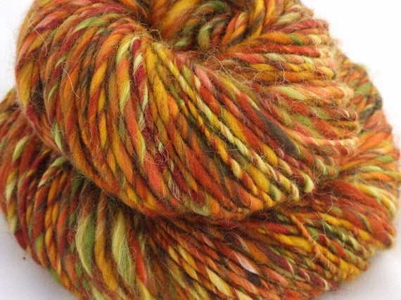 PARK in AUTUMN Handspun art yarn - merino wool,  alpaca- single ply - 120 yd/ 3,8oz