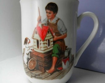 "Vintage Norman Rockwell Cup "" A Dollhouse For Sis "" 1982"