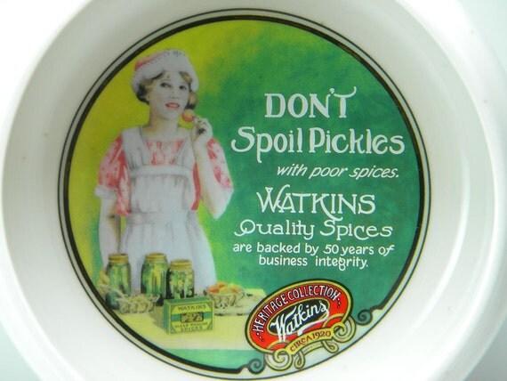 Vintage Watkins 1992 Don't Spoil Pickles Collectors Ceramic Soup Bowl