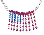 Swarovski Crystal American Flag Necklace, silver, red, white, blue, Patriotic, American, conservative, stars and stripes,