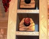 """Solid Oak Wine Bottle Storage Identification Tags  """"Red 6P-AR1"""""""