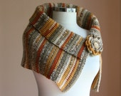 Crochet Scarf in Earth Tones and Flower Brooch - Wood Button -  Striped Cowl in Mustard Burnt Orange Grey White - Fall Spice - Tribal Autumn