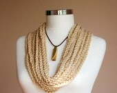 Chain Necklace in Beige with Mustard Stone and Brown Leather Cord