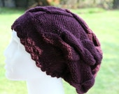 Slouchy Hat Cable Knit in Plum Purple