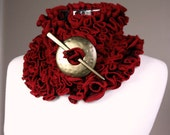 Frizzy Neck Warmer in Red, Burgundy and Black with Shawl Pin