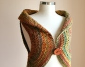 Vest in Brown, Cinnamon, Green and Mustard Yellow with Wooden Button - Fall Spring Fashion - Harvest Shrug - Women and Teens Accessories