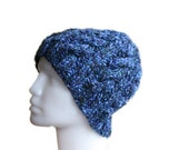 Men Knit Hat in Variegated Blue - Fall Winter Accessories - Men Fashion - Cable Knit